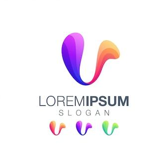 Logo della collezione gradiente lettera v