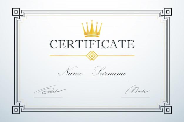 Logo della corona design di lusso vintage. modello di cornice della carta di certificazione