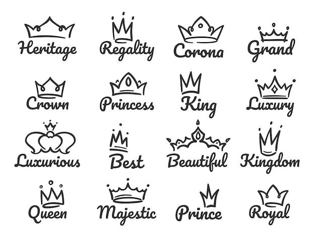 Logo della corona maestosa. schizzi il principe e la principessa, l'insegna della regina disegnata a mano o l'insieme dell'illustrazione dei graffiti delle corone di re