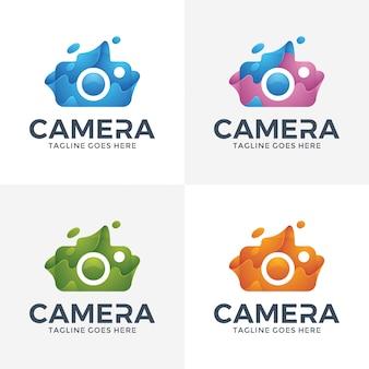 Logo della fotocamera astratto moderno con stile 3d.
