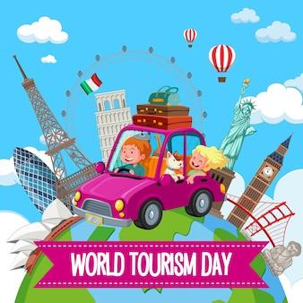 Logo della giornata mondiale del turismo con coppia turistica e famosi elementi di monumenti turistici