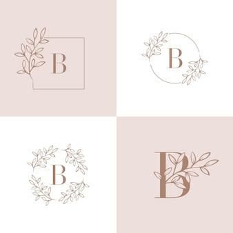 Logo della lettera b con elemento foglia di orchidea