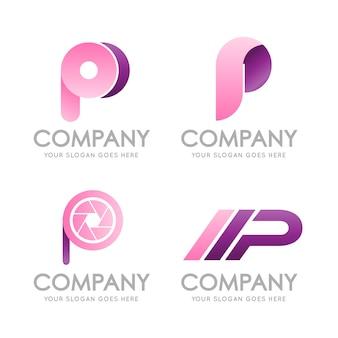 Logo della lettera iniziale p monogram