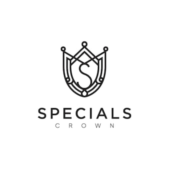 Logo della lettera iniziale s con modello di corona
