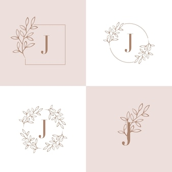 Logo della lettera j con elemento foglia di orchidea