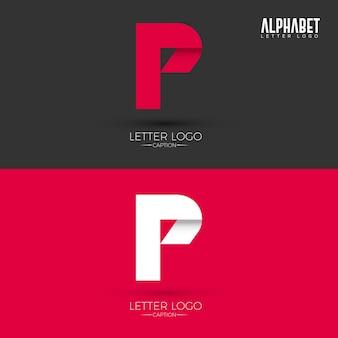Logo della lettera p di stile origami