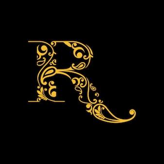 Logo della lettera r con incisione tradizionale / batik dall'indonesia