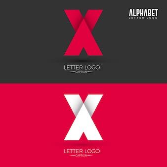 Logo della lettera x di stile origami