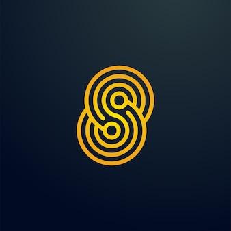 Logo della linea a spirale del sistema elettronico della lettera s di microchip