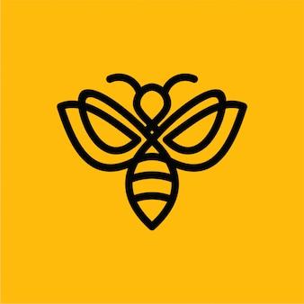Logo della linea premium bee di vettore minimalista