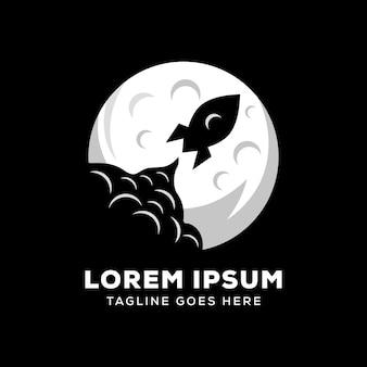 Logo della luna di razzo o logo di astronomia