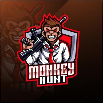 Logo della mascotte caccia scimmia