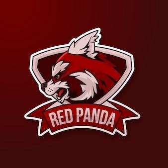 Logo della mascotte con panda rosso