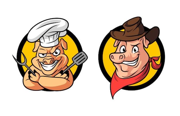 Logo della mascotte del bbq del barbecue del maiale del cowboy del fumetto
