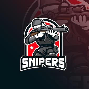 Logo della mascotte del cecchino con stile di illustrazione moderno per la stampa di badge, emblemi e magliette.