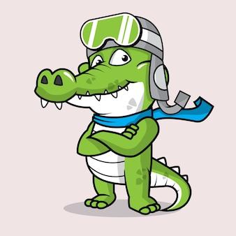 Logo della mascotte del coccodrillo