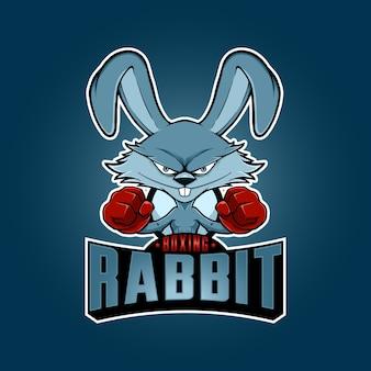 Logo della mascotte del coniglio di pugilato dell'illustrazione con stile del fumetto. vettore
