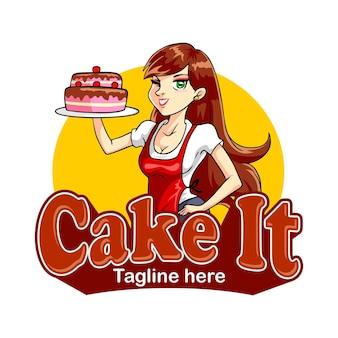 Logo della mascotte del cuoco della torta
