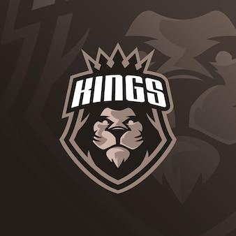 Logo della mascotte del leone con l'illustrazione moderna
