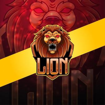 Logo della mascotte del leone esport