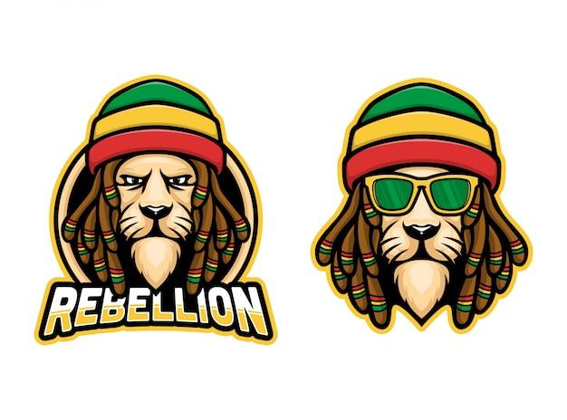 Logo della mascotte del leone rasta del dreadlock