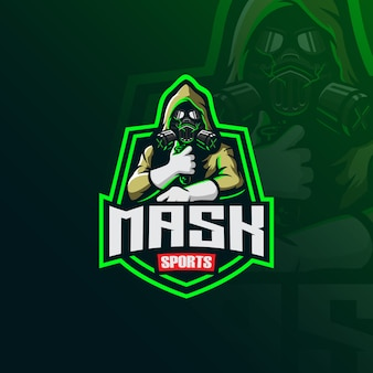 Logo della mascotte del mascheratore tossico con illustrazione moderna