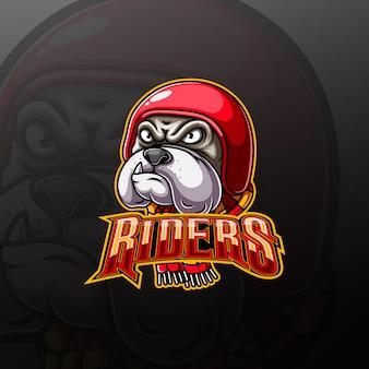 Logo della mascotte del motociclista animale con testa di bulldog aggressivo