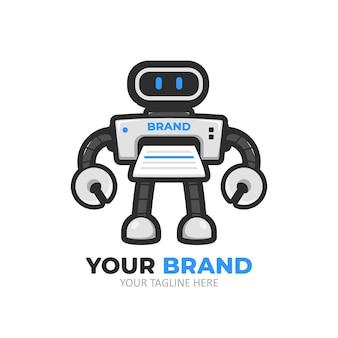 Logo della mascotte del personaggio robot della stampante digitale futuristica