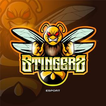 Logo della mascotte dell'ape per il logo di gioco di sport elettronico