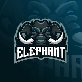 Logo della mascotte dell'elefante designwith stile moderno di concetto dell'illustrazione per stampa del distintivo, dell'emblema e della maglietta.