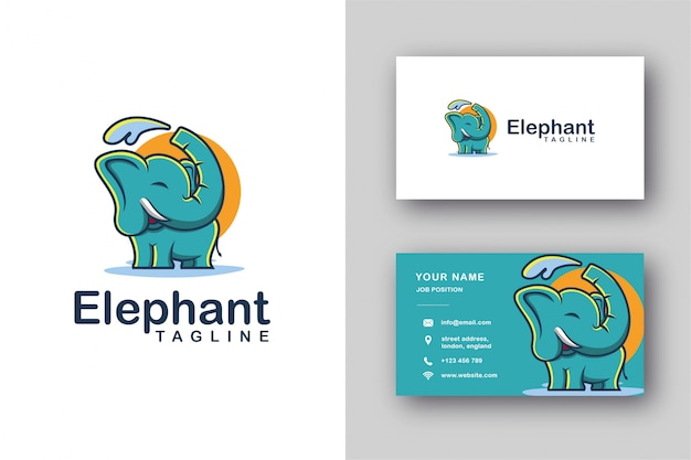 Logo della mascotte dell'elefante e modello di biglietto da visita
