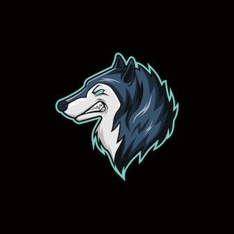 Logo della mascotte dell'esportazione dell'illustrazione di vettore della testa del lupo
