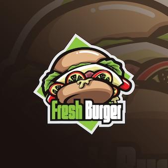 Logo della mascotte dell'hamburger con l'illustrazione moderna