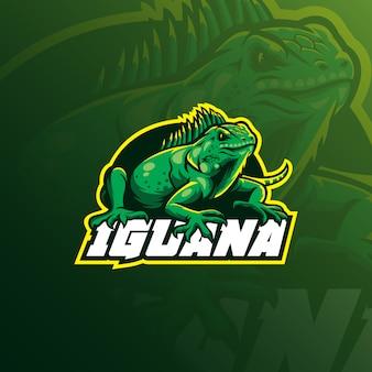 Logo della mascotte dell'iguana con illustrazione moderna