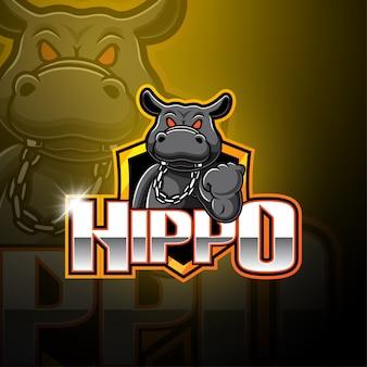 Logo della mascotte dell'ippopotamo esportatore