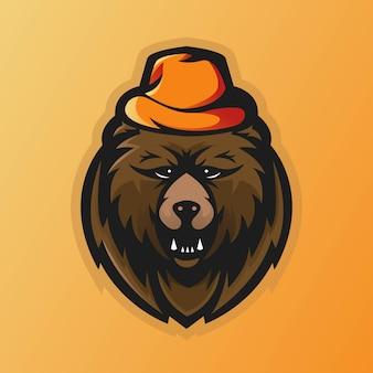 Logo della mascotte dell'orso per giochi, esport, youtube, streamer e twitch