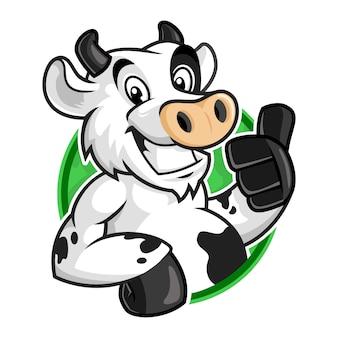 Logo della mascotte della mucca, fumetto di vettore del carattere della mucca per il modello di logo