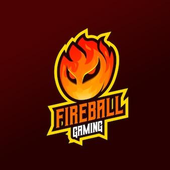 Logo della mascotte della palla di fuoco