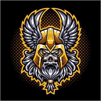 Logo della mascotte della testa del cranio di odino