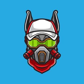 Logo della mascotte della testa di cane cyborg