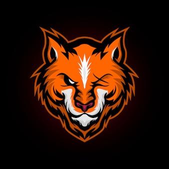Logo della mascotte della volpe selvaggia arrabbiato e sport