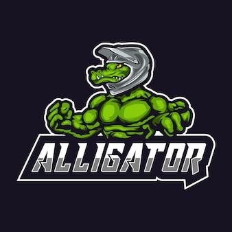 Logo della mascotte di alligatore