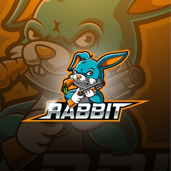 Logo della mascotte di coniglio esport