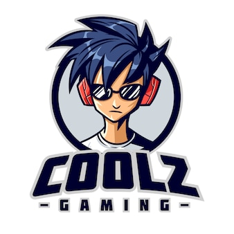 Logo della mascotte di cool gamer character