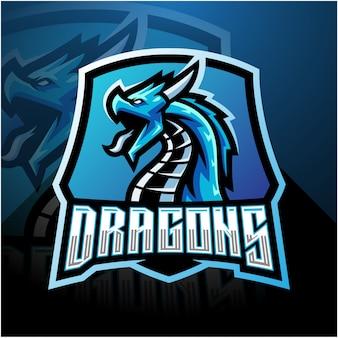 Logo della mascotte di dragon esport con scudo