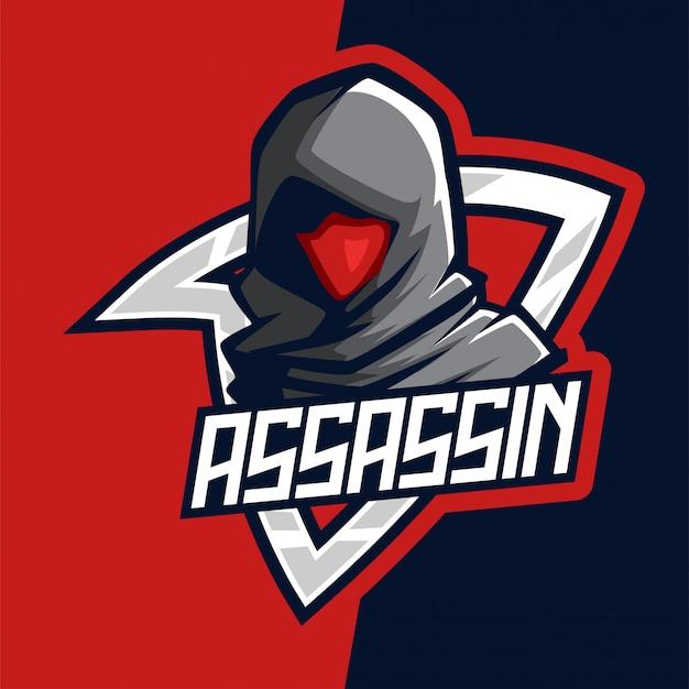 Logo della mascotte di e-sport assassino rosso scuro