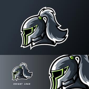 Logo della mascotte di gioco del cavaliere regno sport o esport