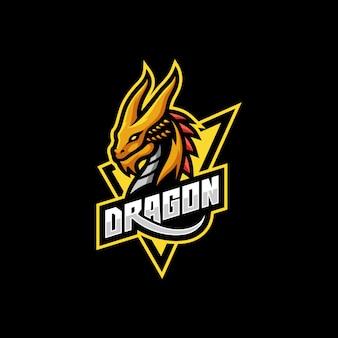 Logo della mascotte di gioco mitologico animali drago sport e-sport