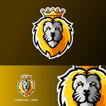 Logo della mascotte di gioco sport re leone animale o esportazione