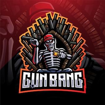 Logo della mascotte di gun bang skeleton king esport